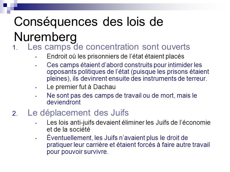 Conséquences des lois de Nuremberg 1. Les camps de concentration sont ouverts Endroit où les prisonniers de létat étaient placés Ces camps étaient dab