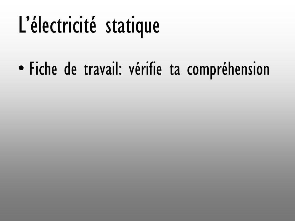 Lélectricité statique Fiche de travail: vérifie ta compréhension