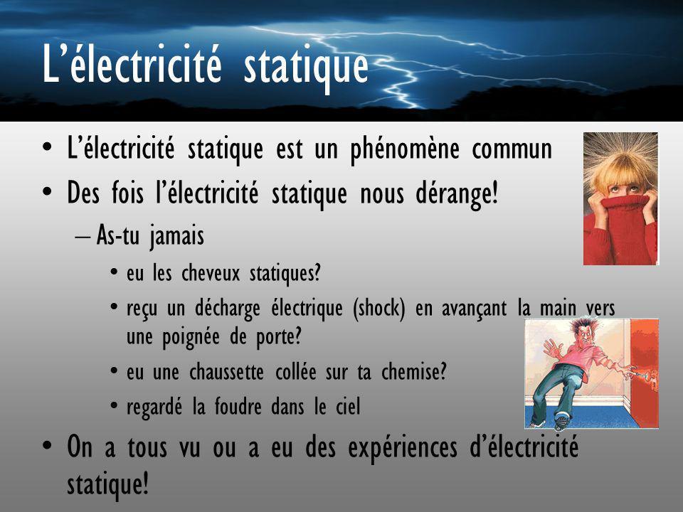Lélectricité statique Lélectricité statique est un phénomène commun Des fois lélectricité statique nous dérange! –As-tu jamais eu les cheveux statique