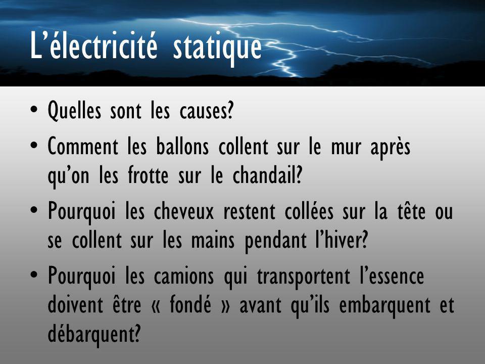 Lélectricité statique Quelles sont les causes? Comment les ballons collent sur le mur après quon les frotte sur le chandail? Pourquoi les cheveux rest