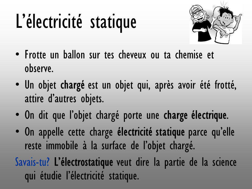 Lélectricité statique Frotte un ballon sur tes cheveux ou ta chemise et observe. Un objet chargé est un objet qui, après avoir été frotté, attire daut