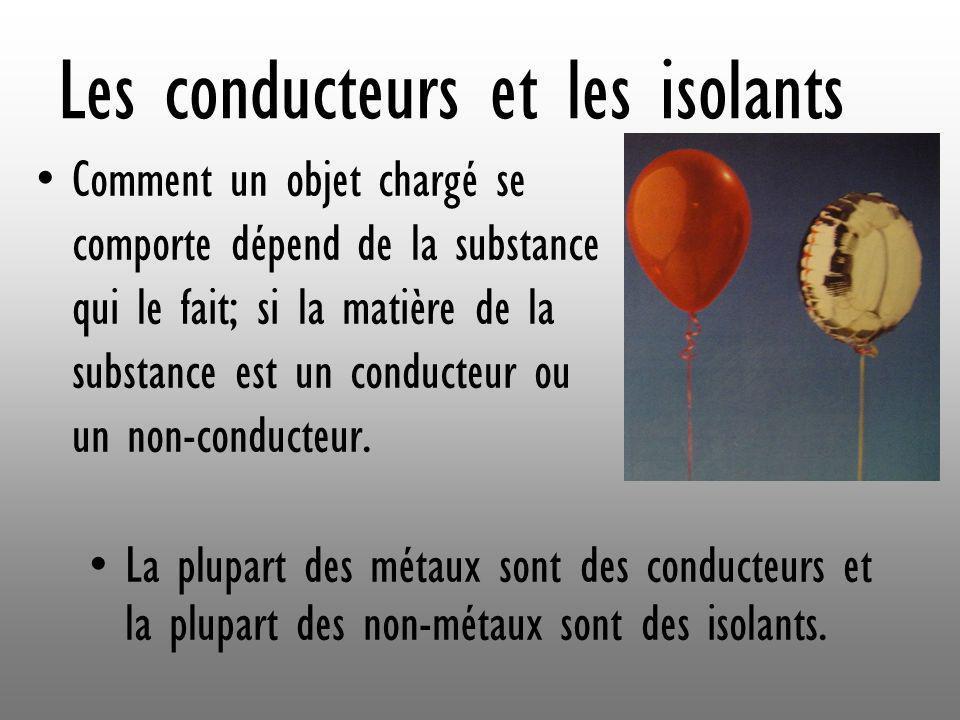 Les conducteurs et les isolants Comment un objet chargé se comporte dépend de la substance qui le fait; si la matière de la substance est un conducteu