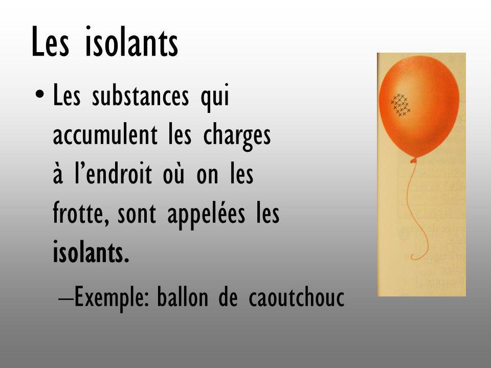 Les isolants Les substances qui accumulent les charges à lendroit où on les frotte, sont appelées les isolants. –Exemple: ballon de caoutchouc