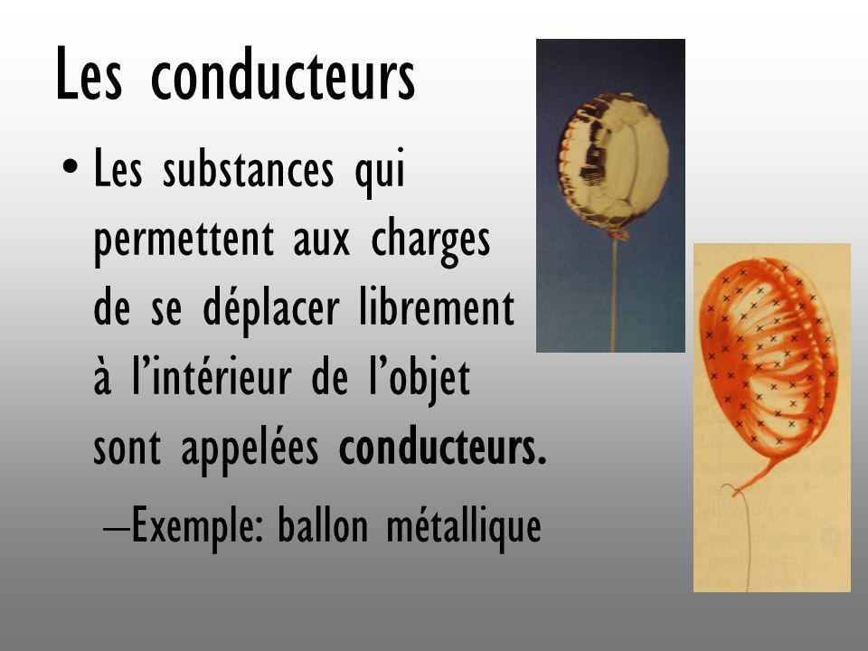 Les conducteurs Les substances qui permettent aux charges de se déplacer librement à lintérieur de lobjet sont appelées conducteurs. –Exemple: ballon