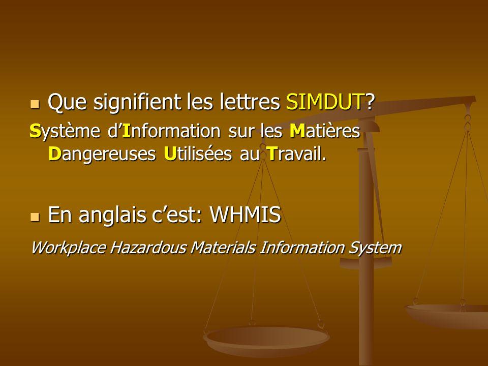 Que signifient les lettres SIMDUT? Que signifient les lettres SIMDUT? Système dInformation sur les Matières Dangereuses Utilisées au Travail. En angla