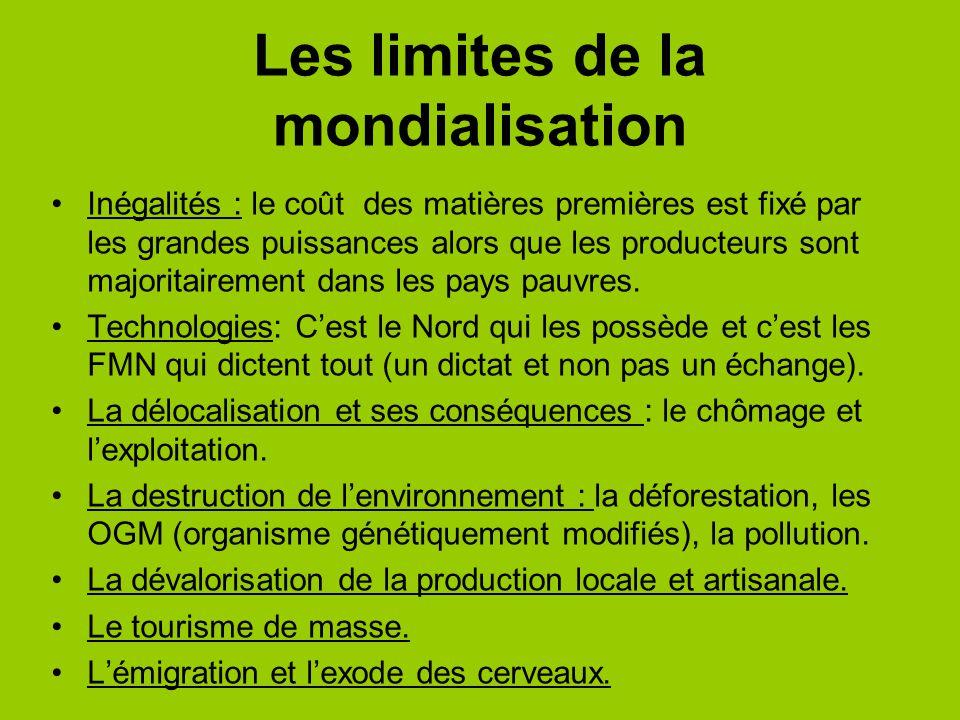 Les limites de la mondialisation Inégalités : le coût des matières premières est fixé par les grandes puissances alors que les producteurs sont majori