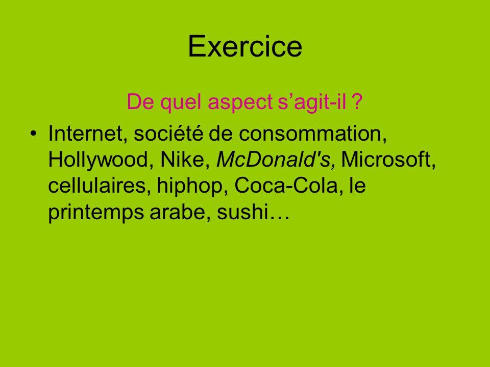 Exercice De quel aspect sagit-il ? Internet, société de consommation, Hollywood, Nike, McDonald's, Microsoft, cellulaires, hiphop, Coca-Cola, le print