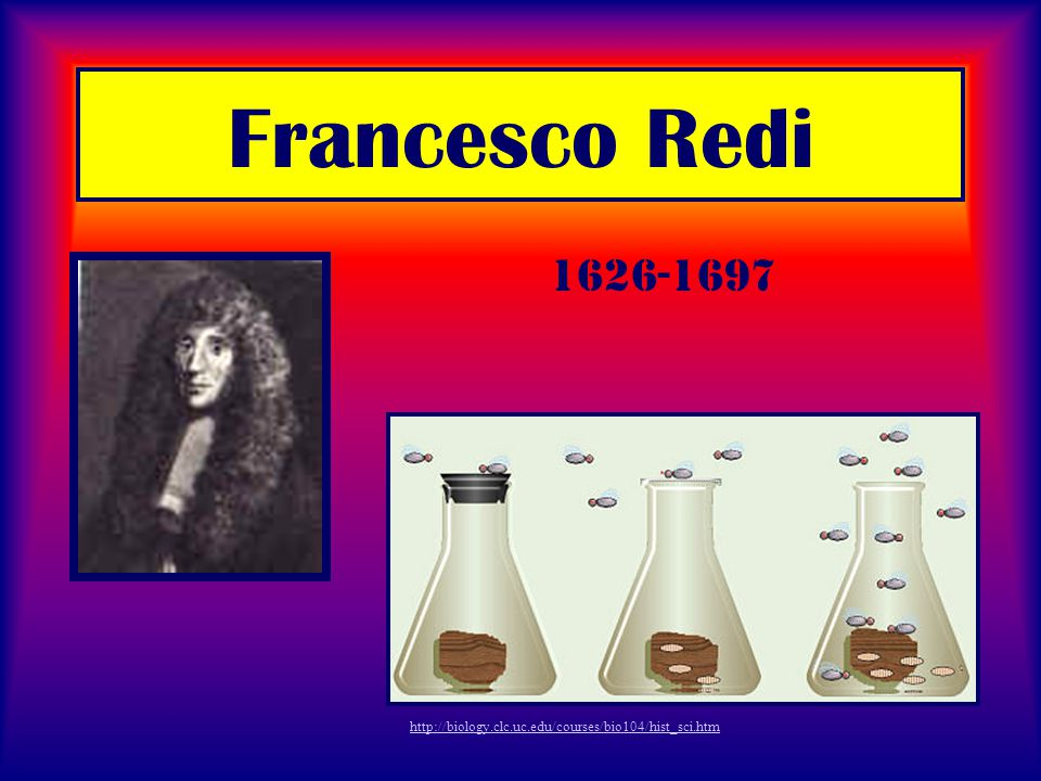 Francesco Redi http://biology.clc.uc.edu/courses/bio104/hist_sci.htm 1626-1697