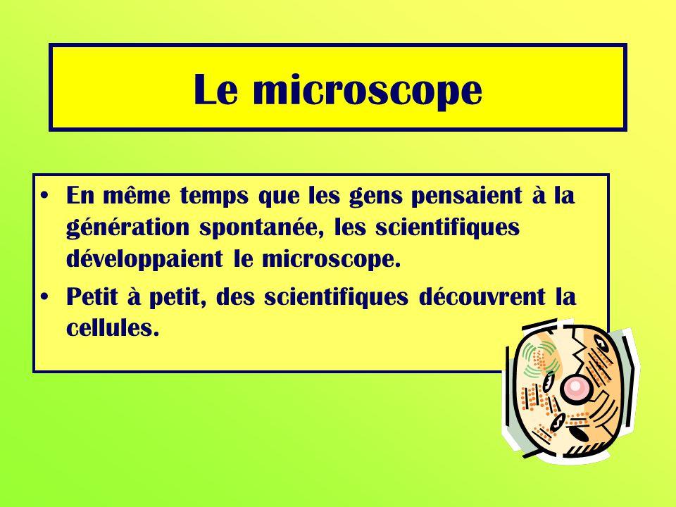 En même temps que les gens pensaient à la génération spontanée, les scientifiques développaient le microscope. Petit à petit, des scientifiques découv