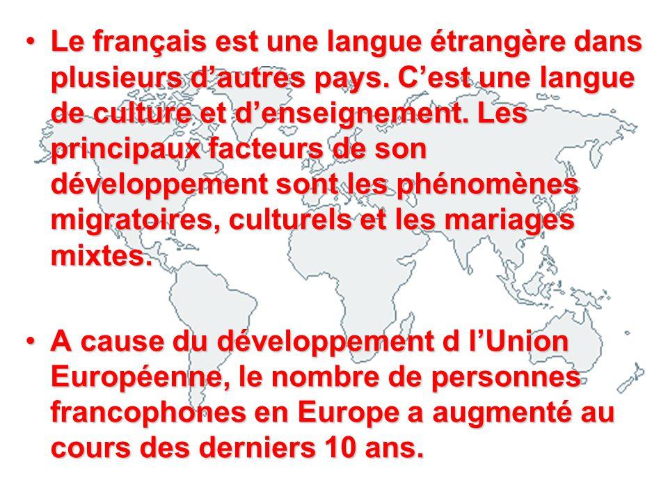 Le français est une langue étrangère dans plusieurs dautres pays. Cest une langue de culture et denseignement. Les principaux facteurs de son développ
