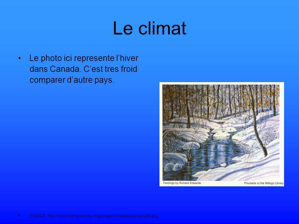 Le climat Le photo ici represente lhiver dans Canada.