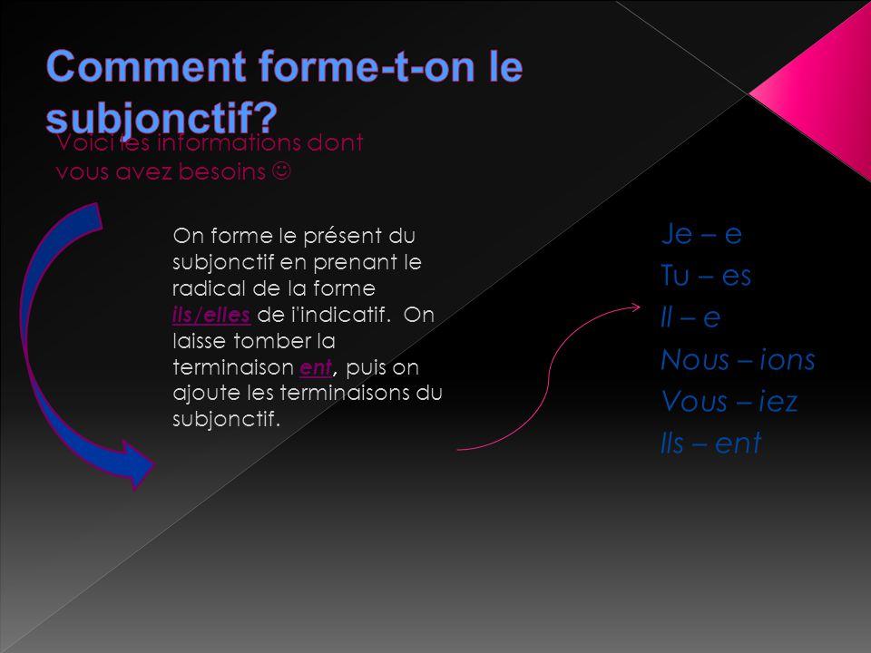 Voici les informations dont vous avez besoins On forme le présent du subjonctif en prenant le radical de la forme ils/elles de i'indicatif. On laisse