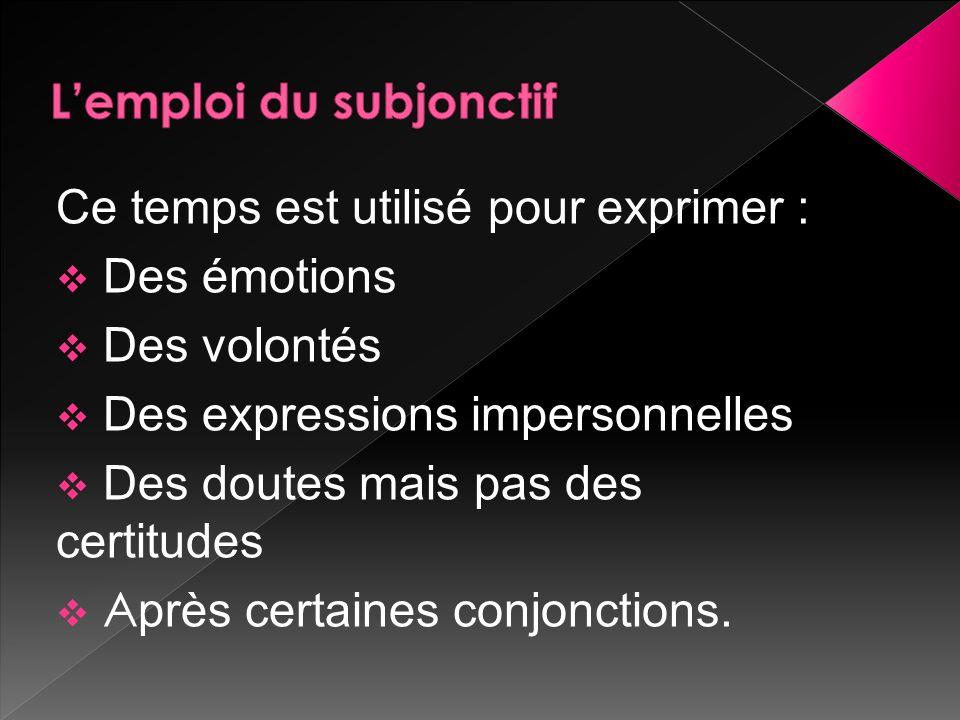 Ce temps est utilisé pour exprimer : Des émotions Des volontés Des expressions impersonnelles Des doutes mais pas des certitudes A près certaines conjonctions.