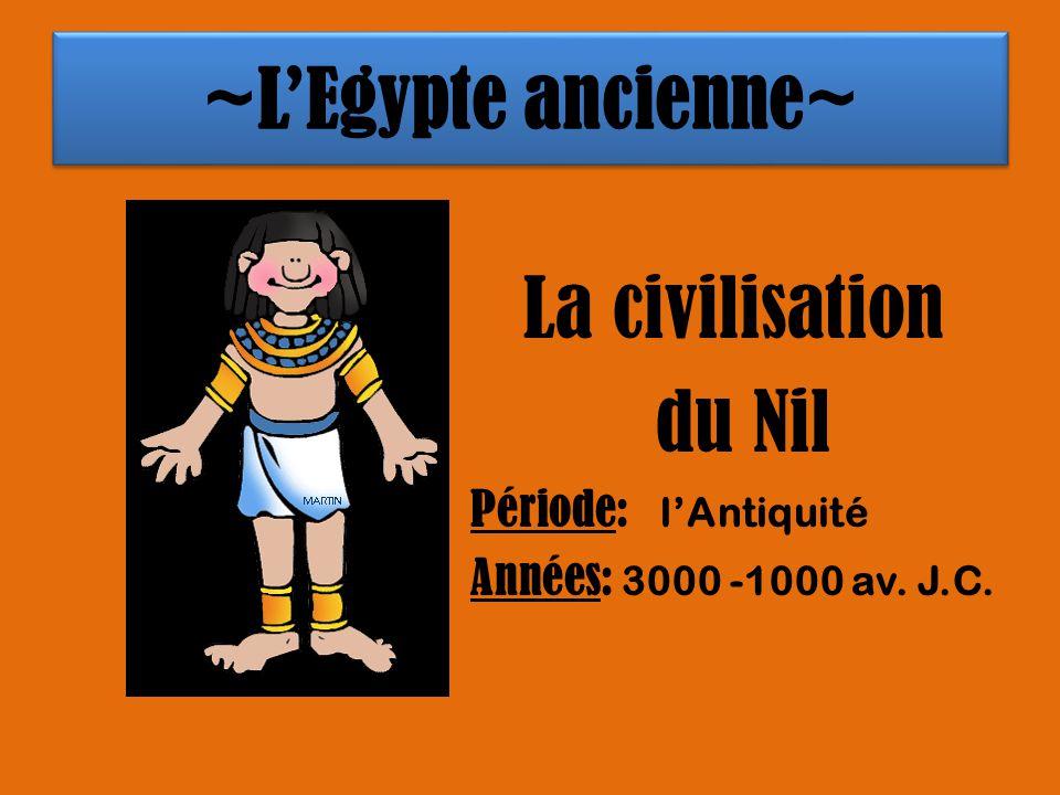 ~LEgypte ancienne~ La civilisation du Nil Période: lAntiquité Années: 3000 -1000 av. J.C.