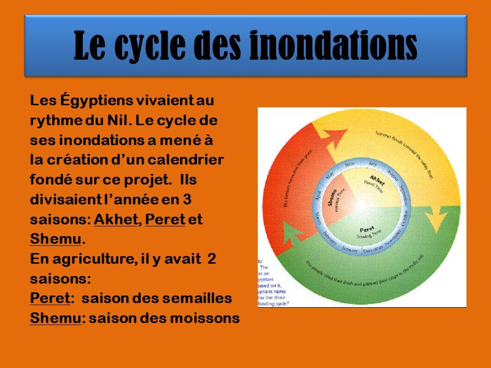 Le cycle des inondations Les Égyptiens vivaient au rythme du Nil. Le cycle de ses inondations a mené à la création dun calendrier fondé sur ce projet.