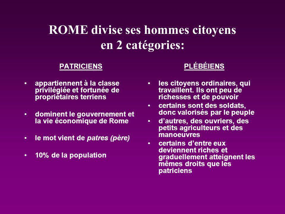 ROME divise ses hommes citoyens en 2 catégories: PATRICIENS appartiennent à la classe privilégiée et fortunée de propriétaires terriens dominent le go