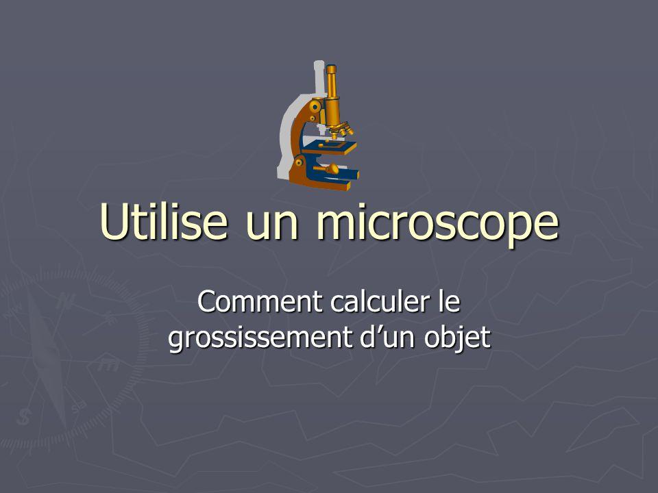 Utilise un microscope Comment calculer le grossissement dun objet