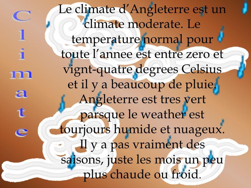 Le climate dAngleterre est un climate moderate. Le temperature normal pour toute lannee est entre zero et vignt-quatre degrees Celsius et il y a beauc
