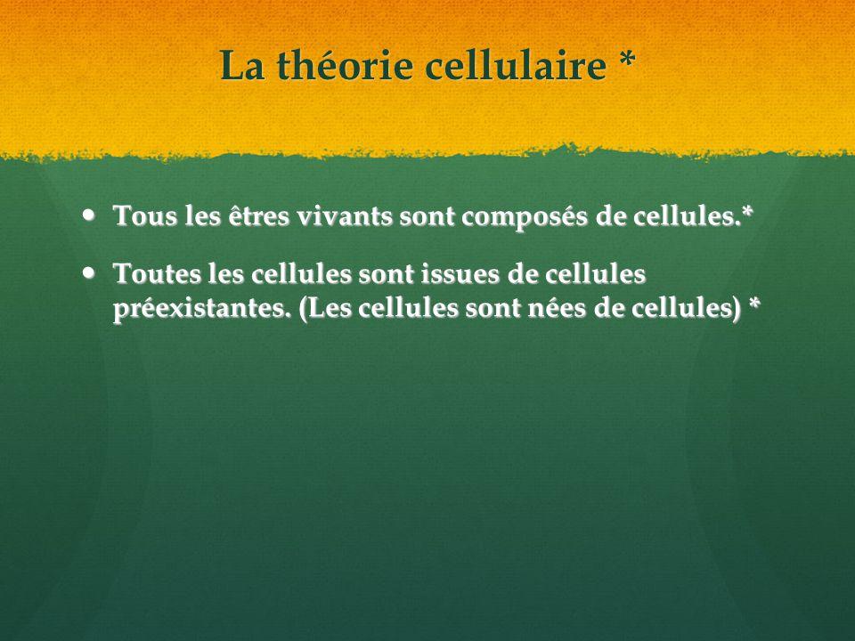 La théorie cellulaire * Tous les êtres vivants sont composés de cellules.* Tous les êtres vivants sont composés de cellules.* Toutes les cellules sont