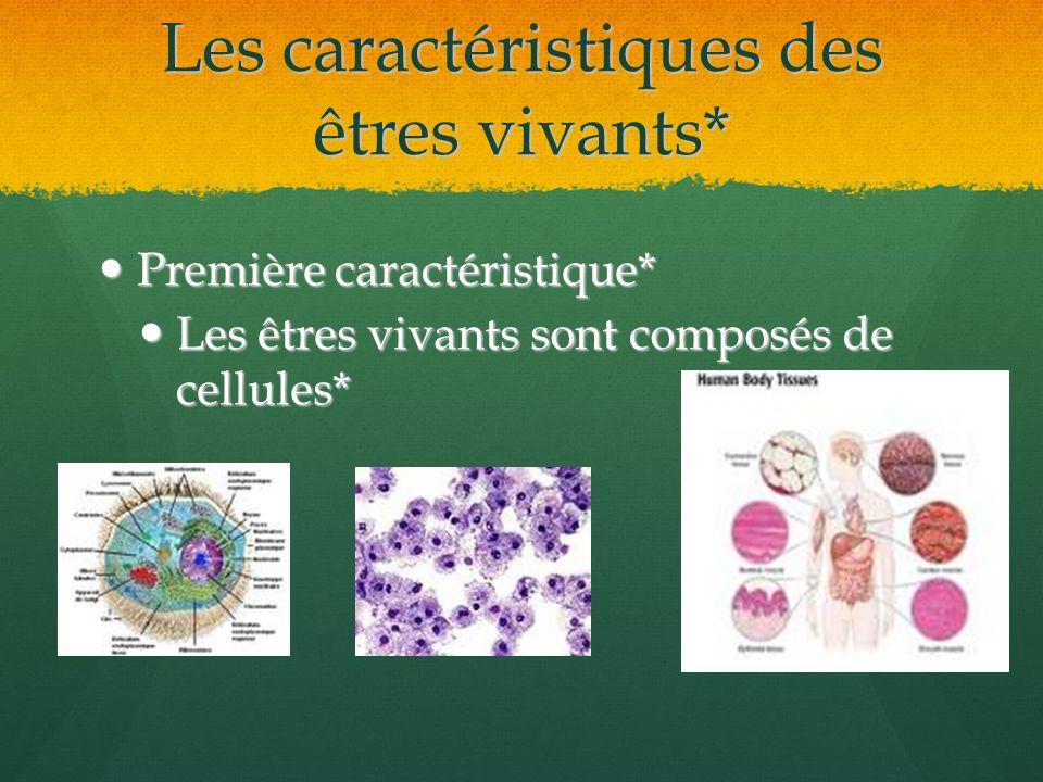Les caractéristiques des êtres vivants* Première caractéristique* Première caractéristique* Les êtres vivants sont composés de cellules* Les êtres viv