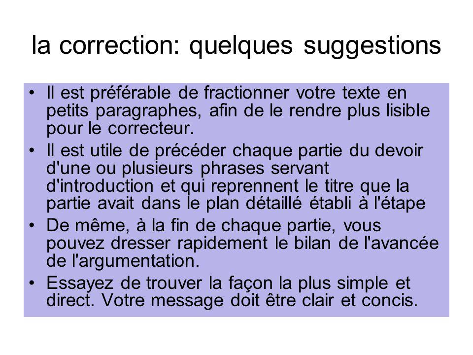 la correction: quelques suggestions Il est préférable de fractionner votre texte en petits paragraphes, afin de le rendre plus lisible pour le correct