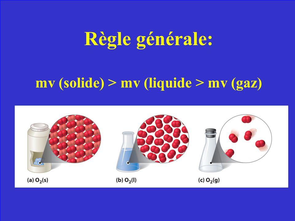 En règle générale, comment peux-tu comparer la masse volumique dune substance à létat gazeux, liquide, et solide?
