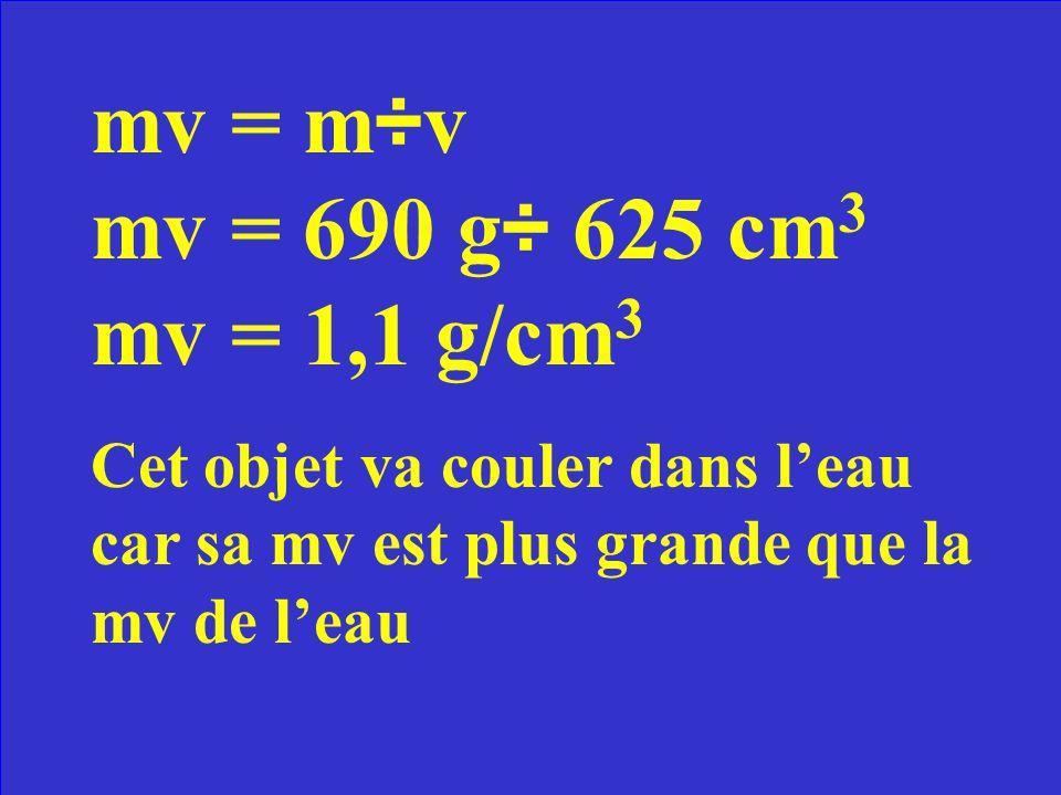Un objet de 690g occupe un espace de 625 cm 3. Est-ce que cet objet va flotter dans leau.