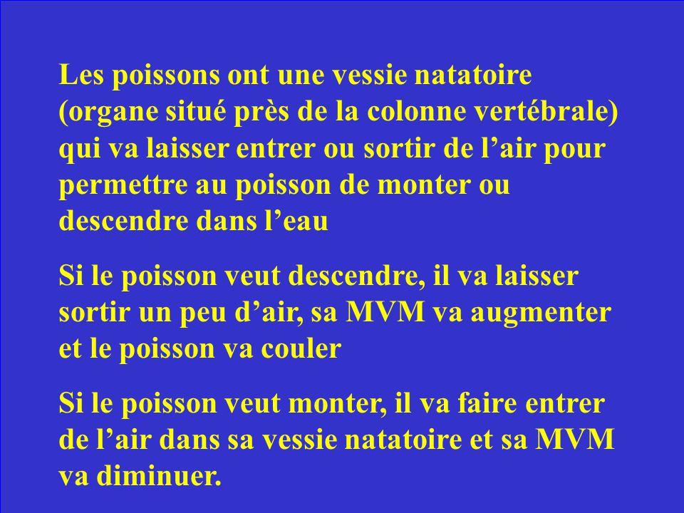÷ Explique comment les poissons utilisent le principe de la MVM (masse volumique moyenne) pour monter et descendre dans leau.