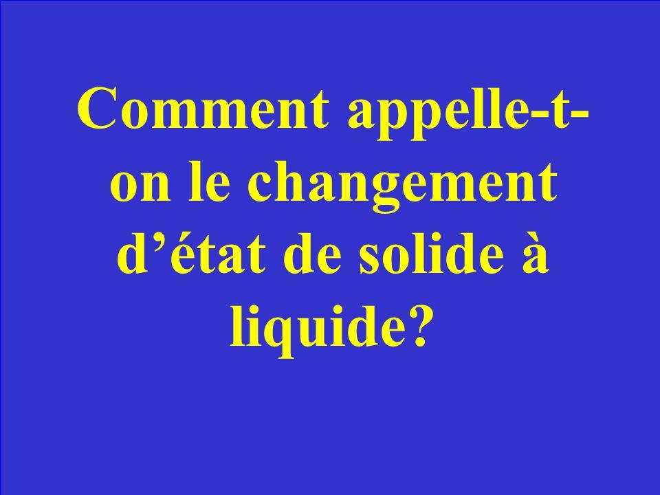 Comment appelle-t- on le changement détat de solide à liquide?