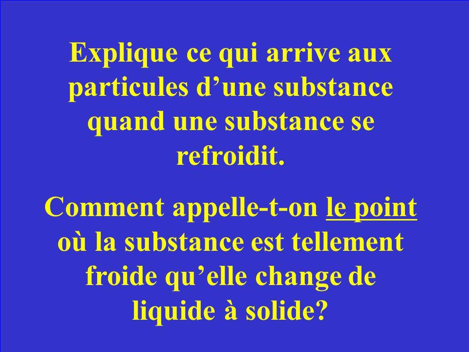 Explique ce qui arrive aux particules dune substance quand une substance se refroidit.