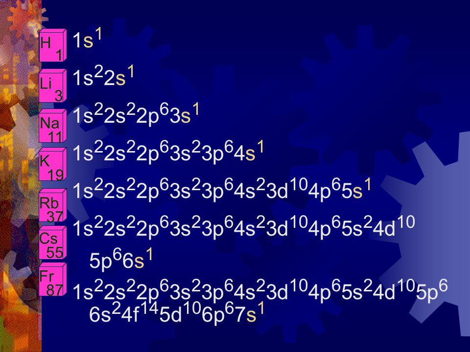 1s11s1 1s 2 2s 1 1s 2 2s 2 2p 6 3s 1 1s 2 2s 2 2p 6 3s 2 3p 6 4s 1 1s 2 2s 2 2p 6 3s 2 3p 6 4s 2 3d 10 4p 6 5s 1 1s 2 2s 2 2p 6 3s 2 3p 6 4s 2 3d 10 4