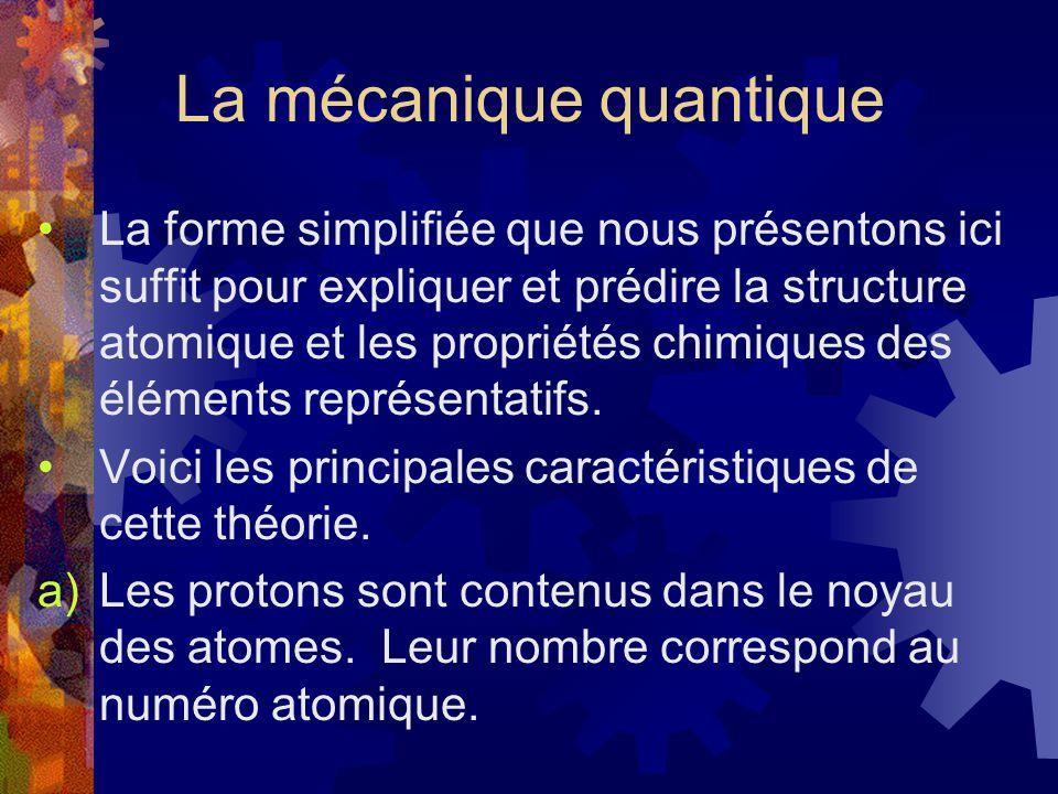 La mécanique quantique La forme simplifiée que nous présentons ici suffit pour expliquer et prédire la structure atomique et les propriétés chimiques