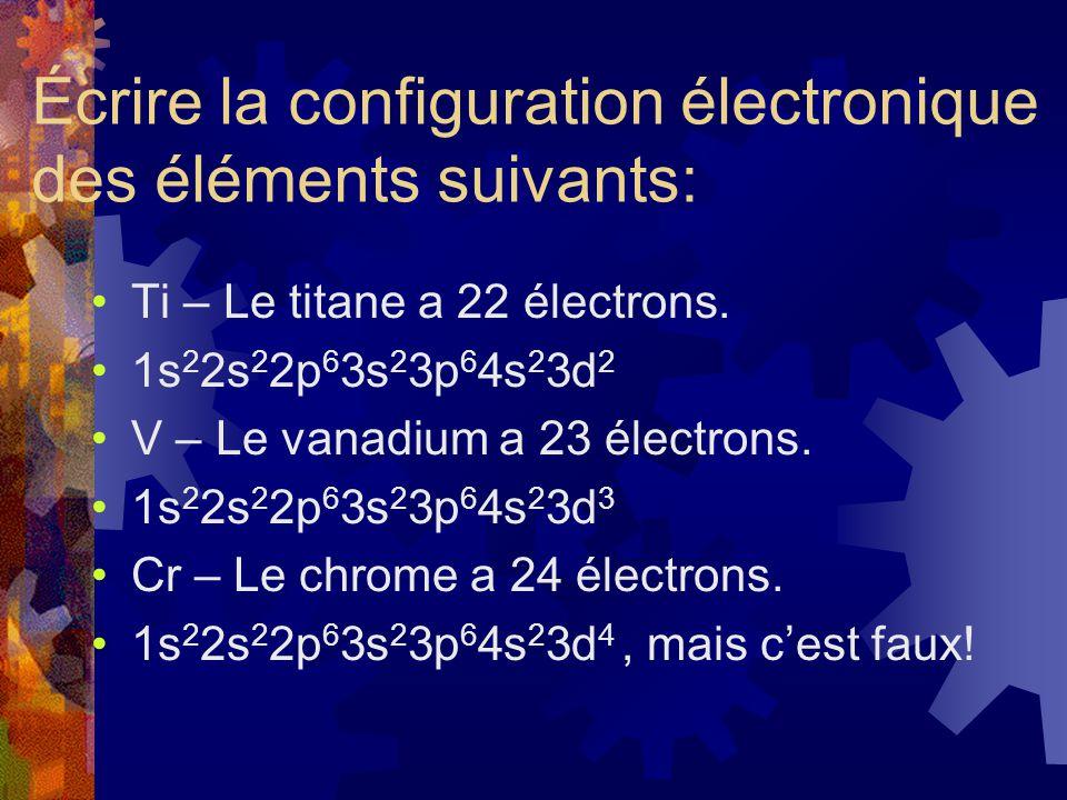 Écrire la configuration électronique des éléments suivants: Ti – Le titane a 22 électrons. 1s 2 2s 2 2p 6 3s 2 3p 6 4s 2 3d 2 V – Le vanadium a 23 éle