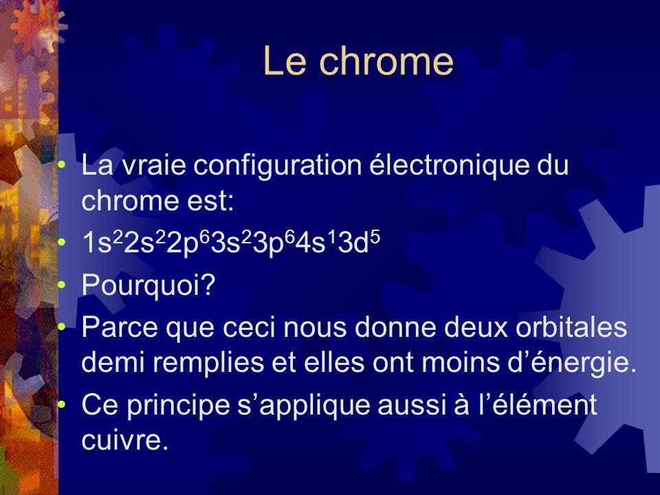 Le chrome La vraie configuration électronique du chrome est: 1s 2 2s 2 2p 6 3s 2 3p 6 4s 1 3d 5 Pourquoi? Parce que ceci nous donne deux orbitales dem