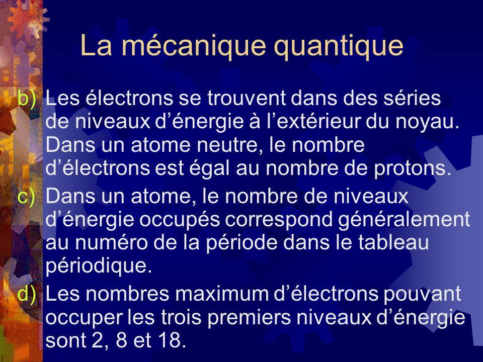 La mécanique quantique b)Les électrons se trouvent dans des séries de niveaux dénergie à lextérieur du noyau. Dans un atome neutre, le nombre délectro