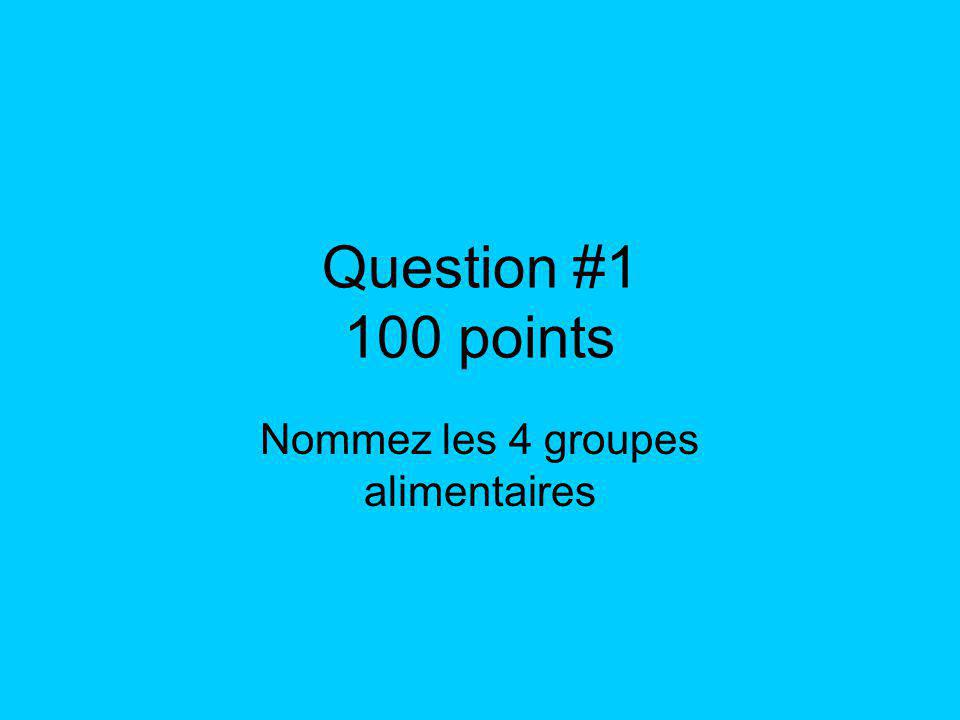 Question #1 100 points Nommez les 4 groupes alimentaires