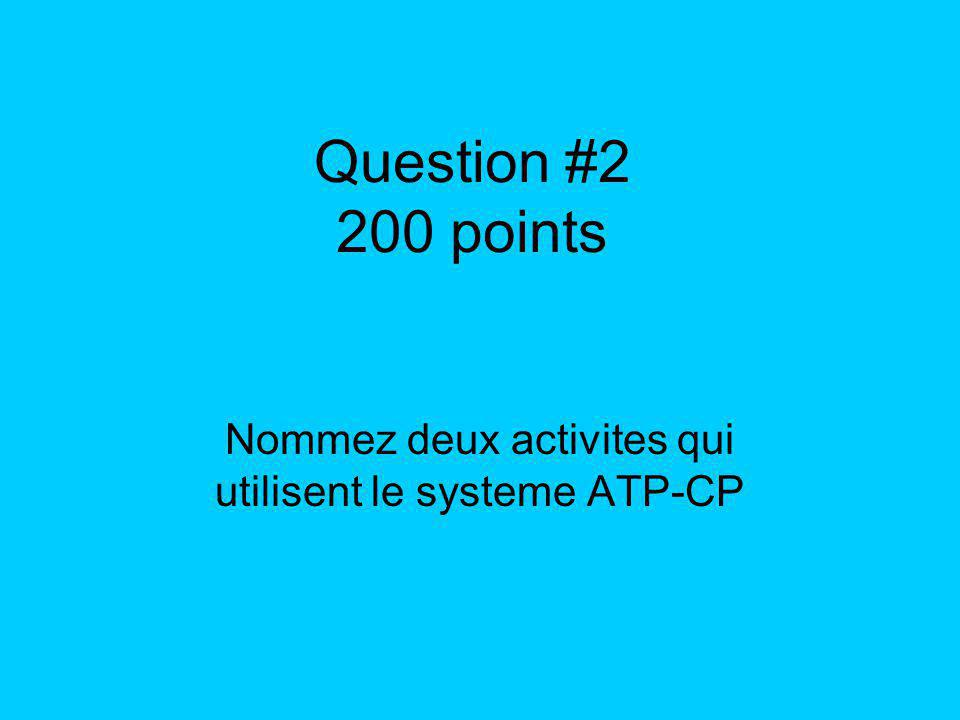 Question #2 200 points Nommez deux activites qui utilisent le systeme ATP-CP