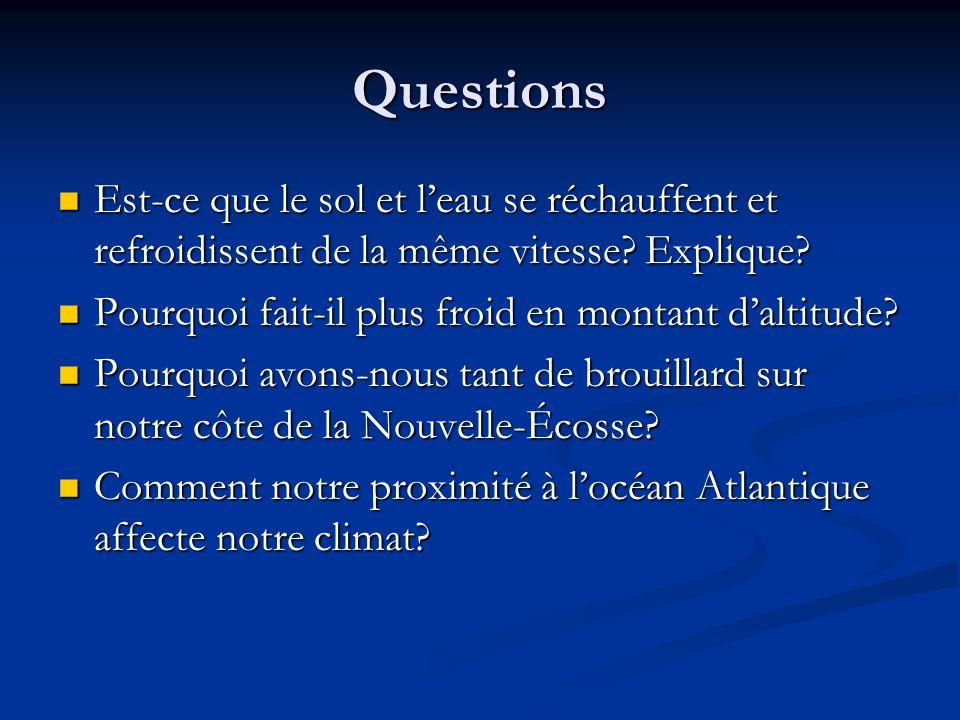 Questions Est-ce que le sol et leau se réchauffent et refroidissent de la même vitesse? Explique? Est-ce que le sol et leau se réchauffent et refroidi