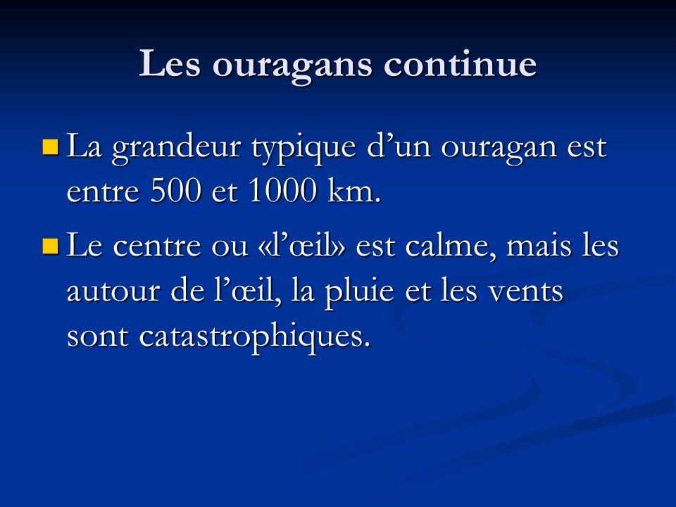 Les ouragans continue La grandeur typique dun ouragan est entre 500 et 1000 km. La grandeur typique dun ouragan est entre 500 et 1000 km. Le centre ou