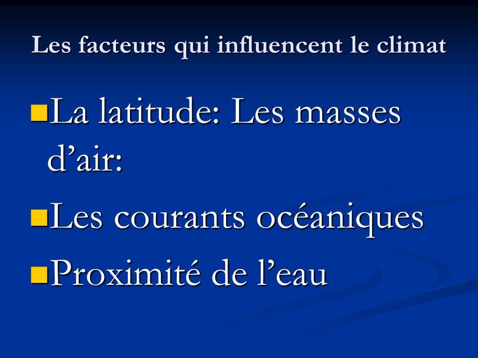Les facteurs qui influencent le climat La latitude: Les masses dair: La latitude: Les masses dair: Les courants océaniques Les courants océaniques Pro