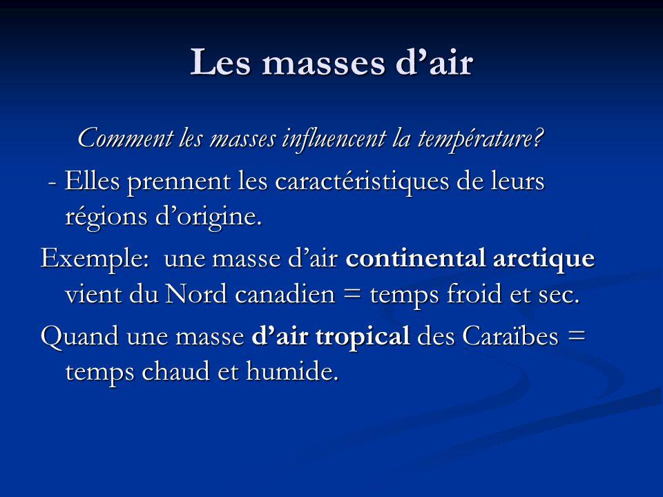 Les masses dair Comment les masses influencent la température? Comment les masses influencent la température? - Elles prennent les caractéristiques de