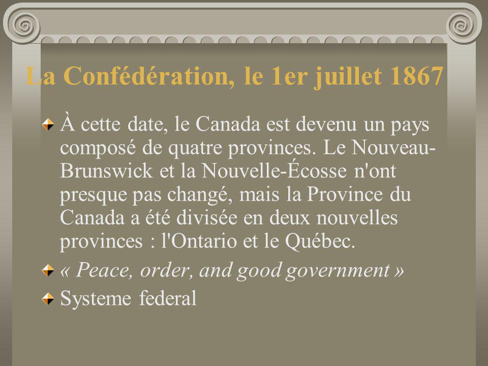 La Confédération, le 1er juillet 1867 À cette date, le Canada est devenu un pays composé de quatre provinces. Le Nouveau- Brunswick et la Nouvelle-Éco