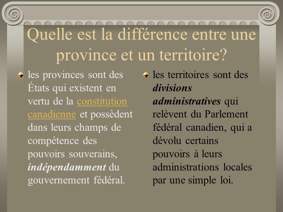 Quelle est la différence entre une province et un territoire? les provinces sont des États qui existent en vertu de la constitution canadienne et poss