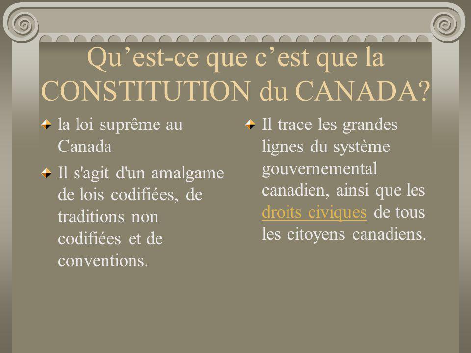 Quest-ce que cest que la CONSTITUTION du CANADA? la loi suprême au Canada Il s'agit d'un amalgame de lois codifiées, de traditions non codifiées et de