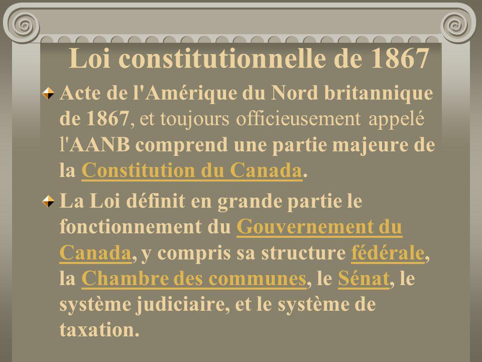 Loi constitutionnelle de 1867 Acte de l'Amérique du Nord britannique de 1867, et toujours officieusement appelé l'AANB comprend une partie majeure de