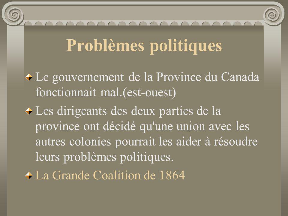 Problèmes politiques Le gouvernement de la Province du Canada fonctionnait mal.(est-ouest) Les dirigeants des deux parties de la province ont décidé q