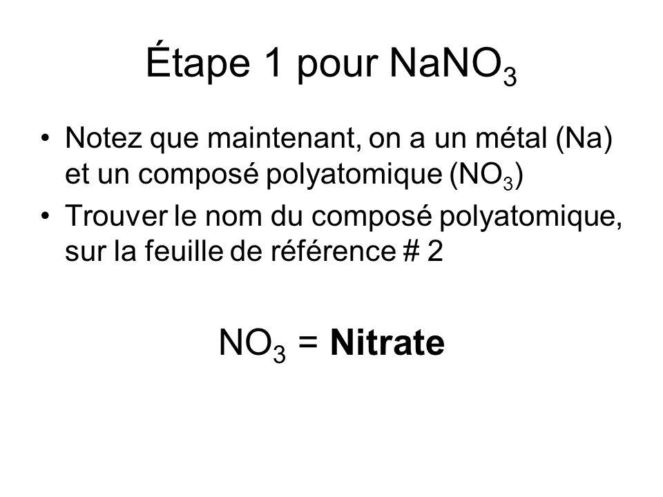 Étape 1 pour NaNO 3 Notez que maintenant, on a un métal (Na) et un composé polyatomique (NO 3 ) Trouver le nom du composé polyatomique, sur la feuille