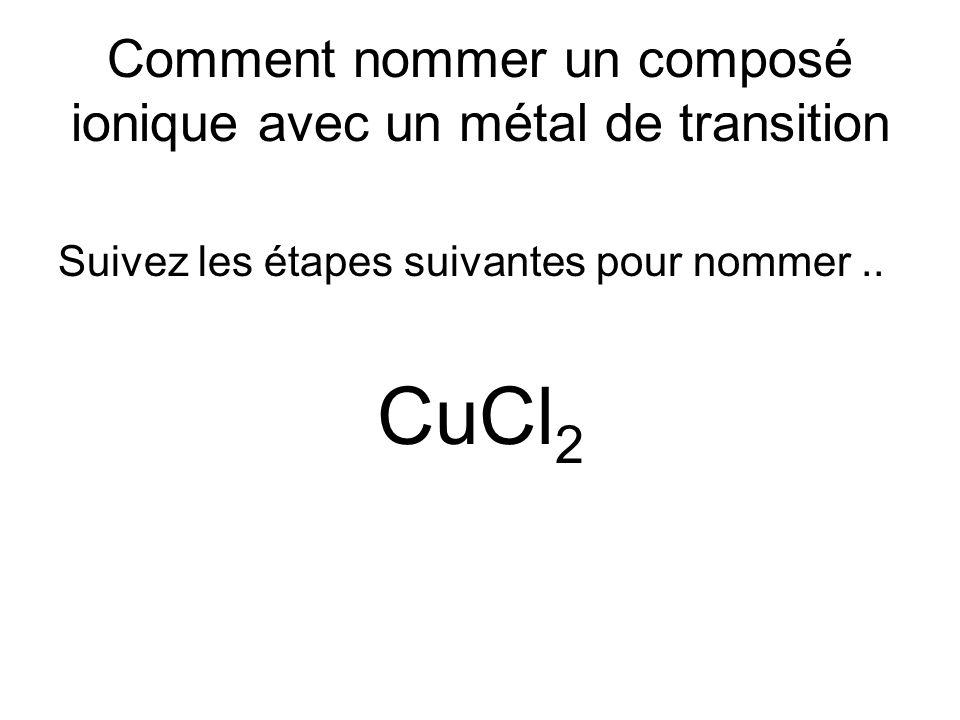 Comment nommer un composé ionique avec un métal de transition Suivez les étapes suivantes pour nommer.. CuCl 2