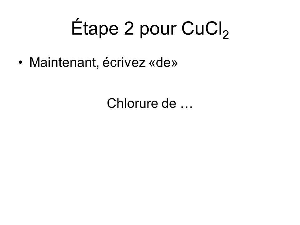 Étape 2 pour CuCl 2 Maintenant, écrivez «de» Chlorure de …