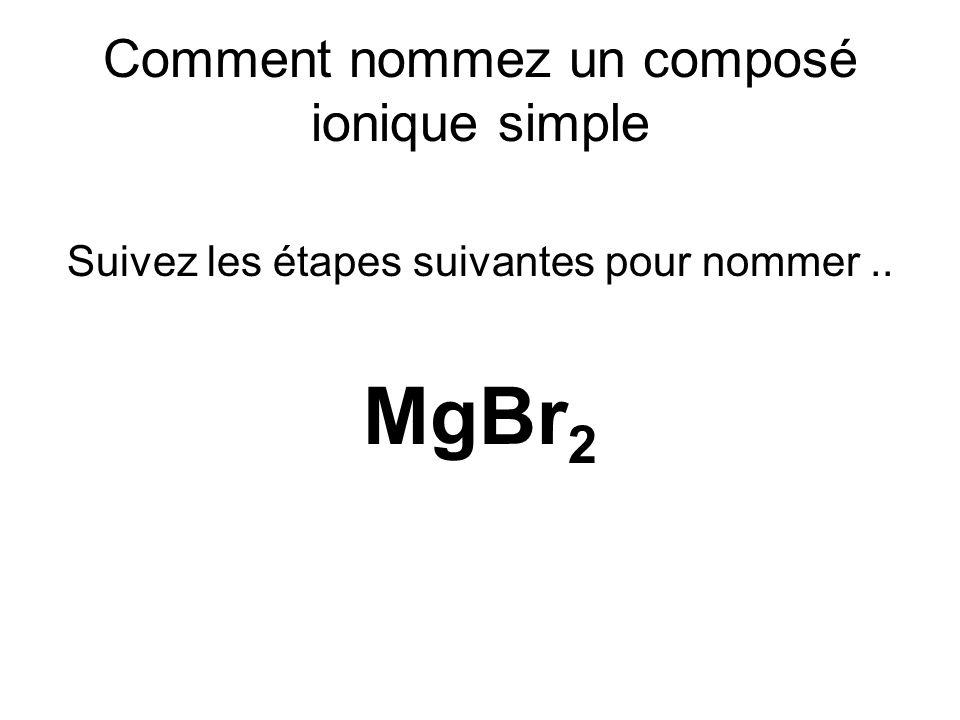 Comment nommez un composé ionique simple Suivez les étapes suivantes pour nommer.. MgBr 2